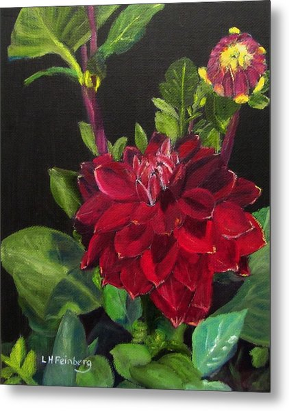 Metal Print featuring the painting Dahlias In My Garden by Linda Feinberg