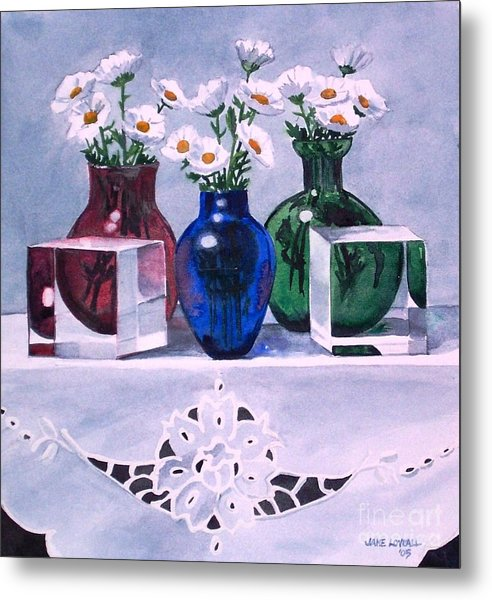 Daisies And Cubes Metal Print