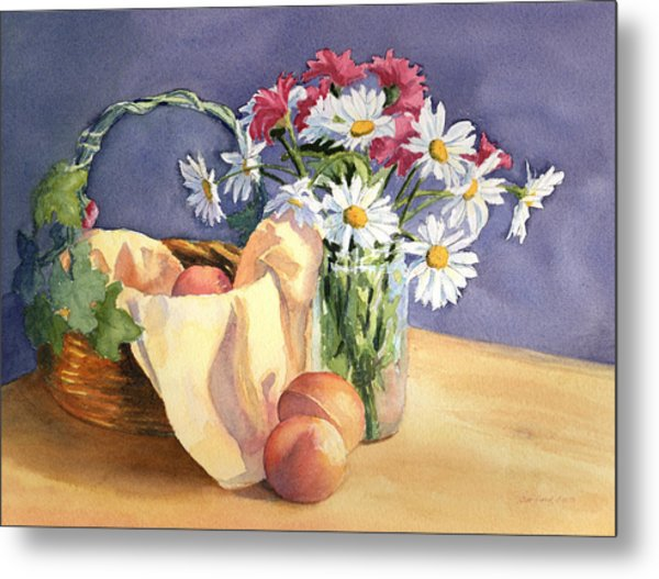 Daisies And Peaches Metal Print