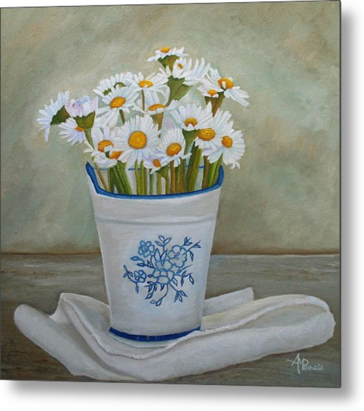 Daisies And Porcelain Metal Print