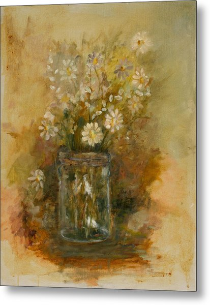 Daisies In A Jar Metal Print by Betty Stevens
