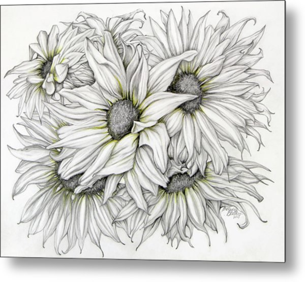 Sunflowers Pencil Metal Print
