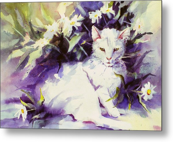 Daisy Cat Metal Print