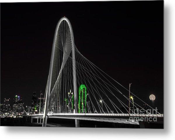 Dallas Nightscape With Green Metal Print