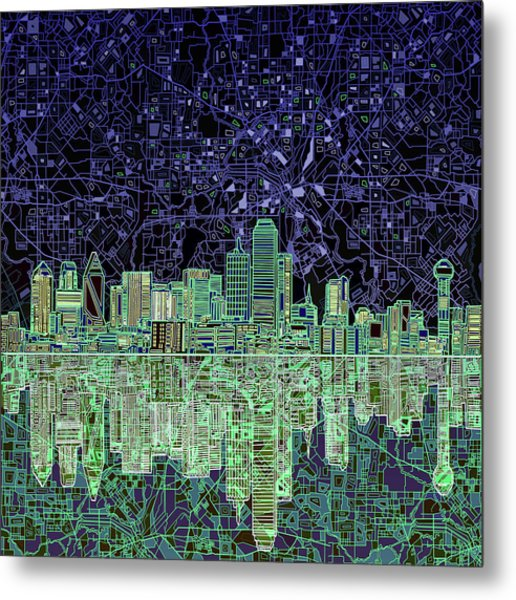 Dallas Skyline Abstract 4 Metal Print