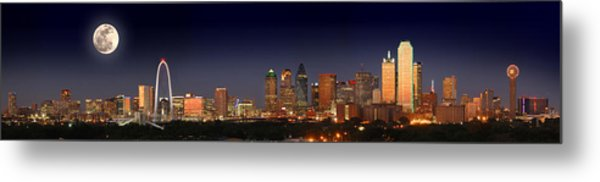 Dallas Skyline At Dusk Big Moon Night  Metal Print