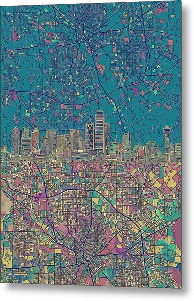 Dallas Skyline Map Green Metal Print