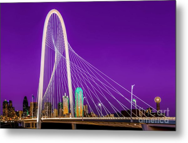 Dallas Skyline Purple Metal Print