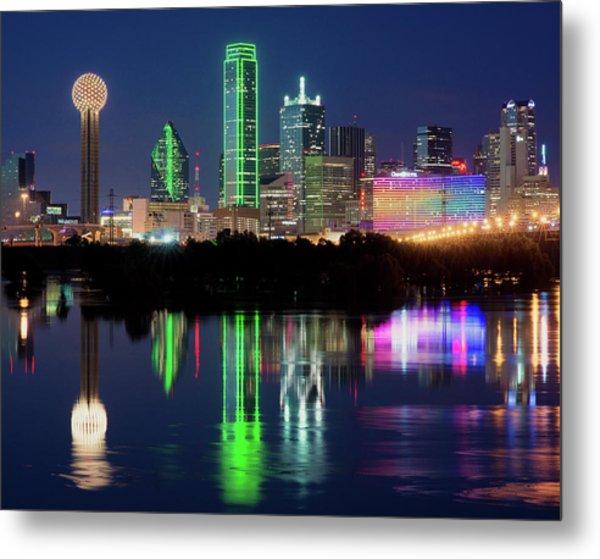Dallas Skyline Reflection 91317 Metal Print