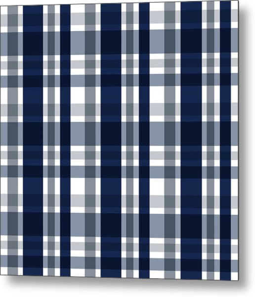 Dallas Sports Fan Navy Blue Silver Plaid Striped Metal Print