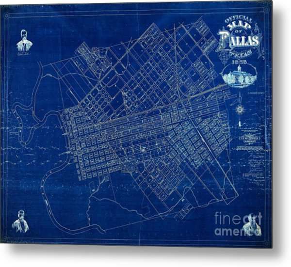 Dallas Texas Official 1875 City Map Blueprint Butterfield And Rundlett Metal Print