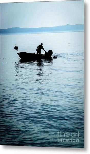 Dalmatian Coast Fisherman Silhouette, Croatia Metal Print