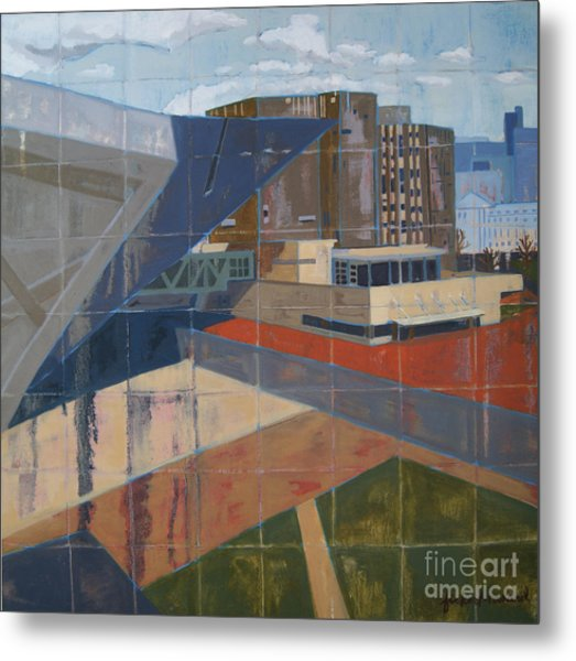 Metal Print featuring the painting Dam Museum by Erin Fickert-Rowland