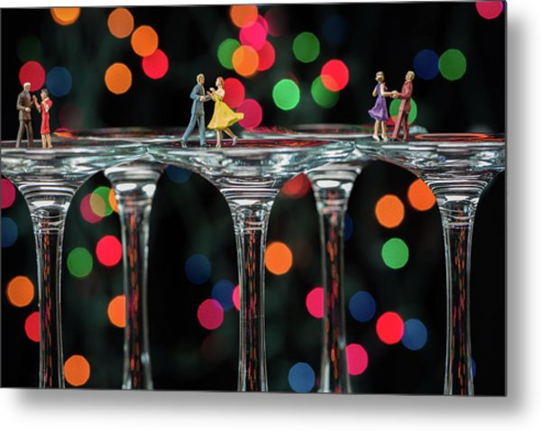 Dancers On Wine Glasses Metal Print