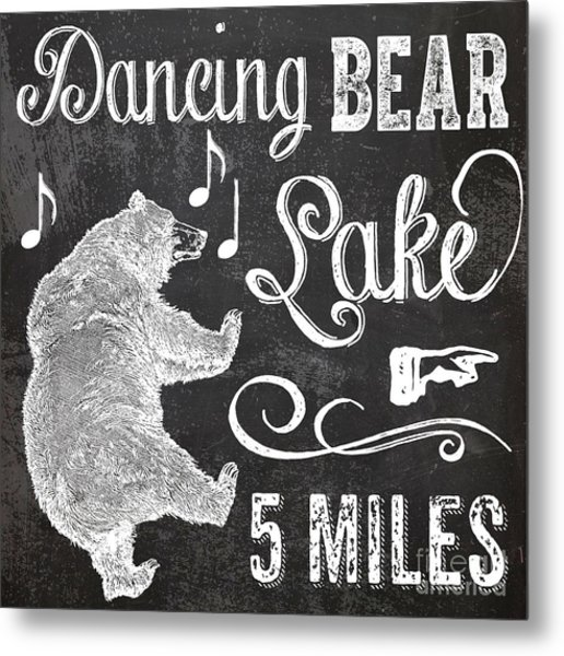 Dancing Bear Lake Rustic Cabin Sign Metal Print