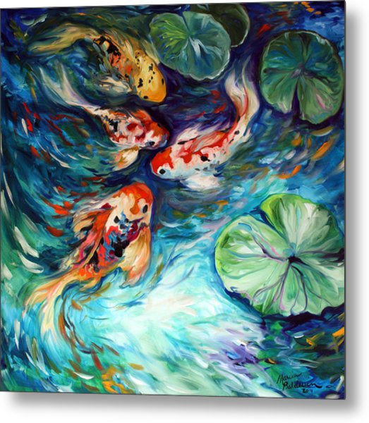 Dancing Colors Koi Metal Print