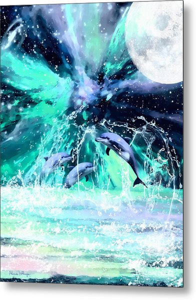 Dancing Dolphins Under The Moon Metal Print
