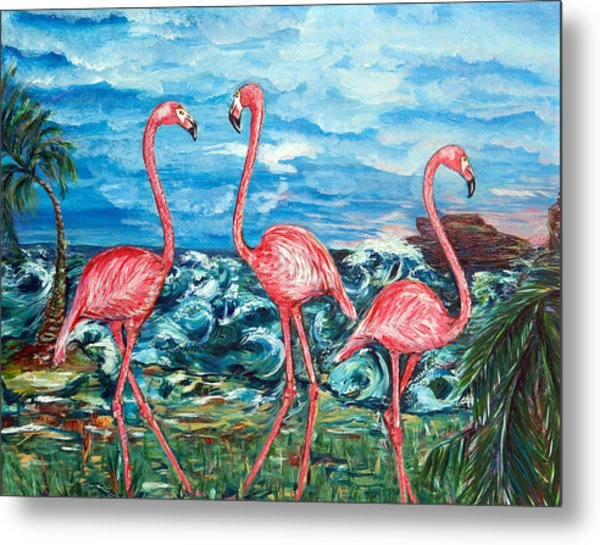 Dancing Flamingos  Metal Print