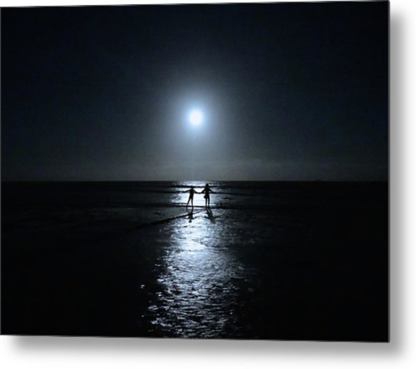 Dancing In The Moonlight In Blue Metal Print