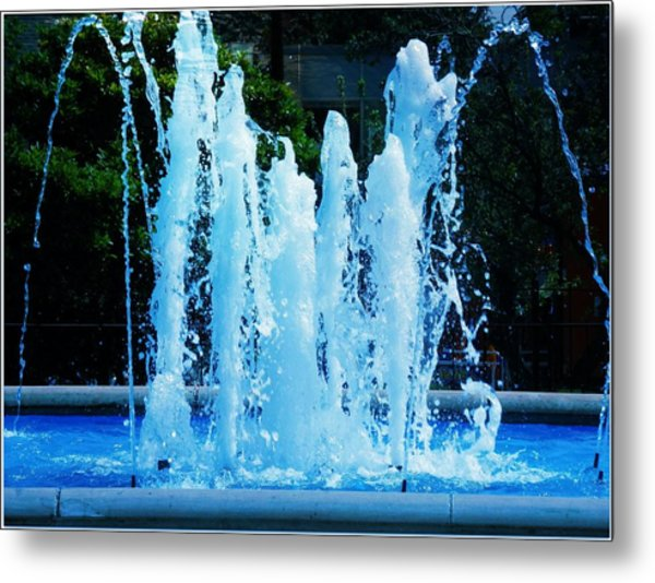 Dancing Waters Blue Metal Print