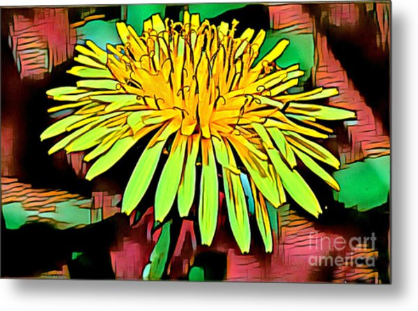 Metal Print featuring the mixed media Dandelion by Lita Kelley