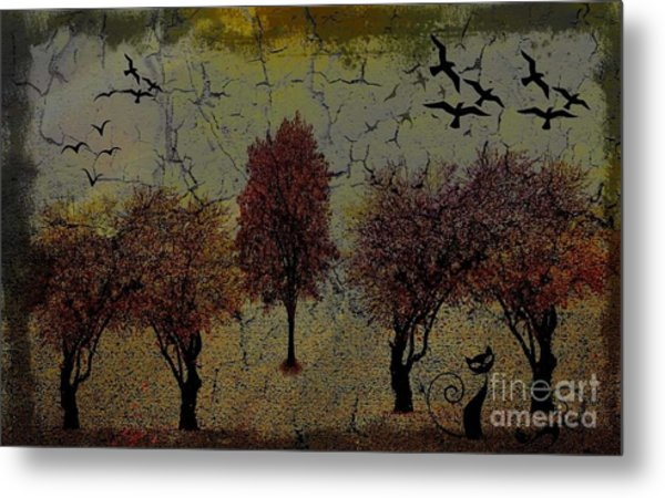 Dark Autumn Night Metal Print
