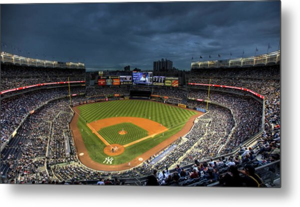 Dark Clouds Over Yankee Stadium  Metal Print