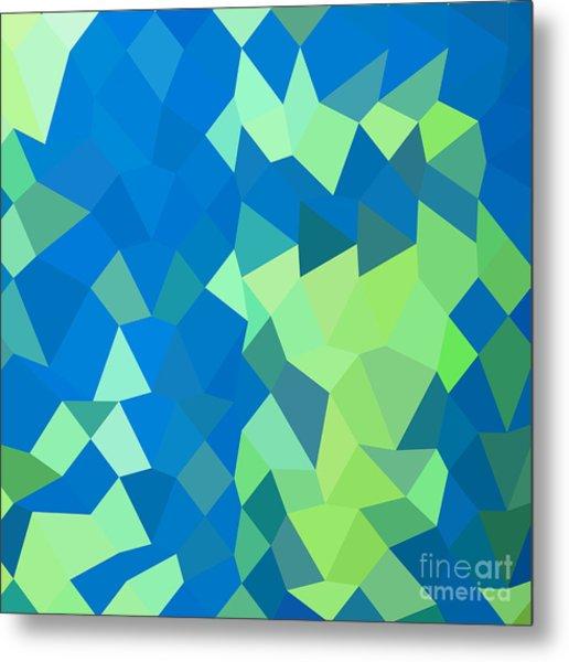 Dark Cyan Abstract Low Polygon Background Metal Print by Aloysius Patrimonio