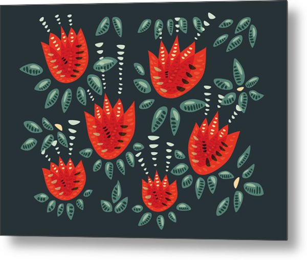 Dark Floral Pattern Of Abstract Red Tulips Metal Print