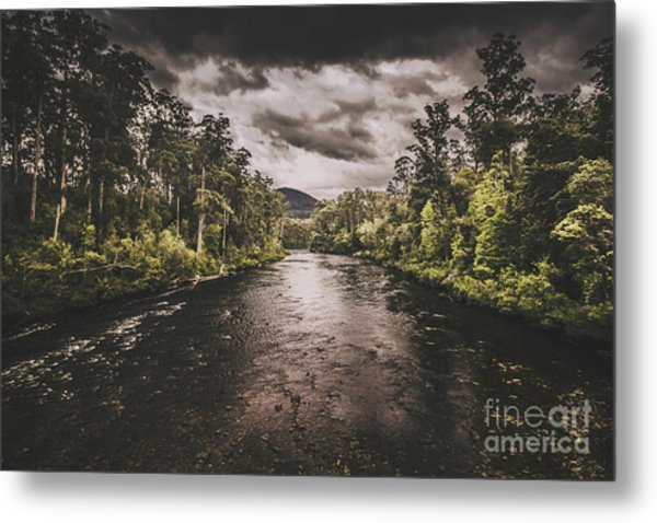 Dark River Woods Metal Print