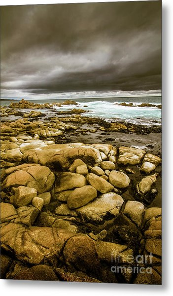 Dark Skies On Ocean Shores Metal Print