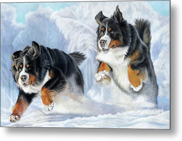 Metal Print featuring the painting Dashing Through The Snow by Donna Mulley