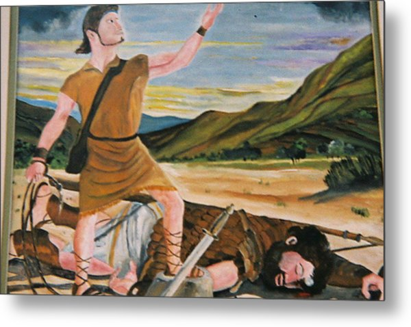 David And Goliath Metal Print by Desenclos Patrick