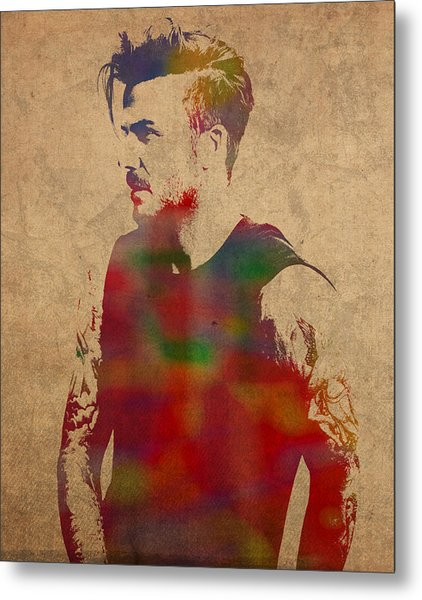 David Beckham Watercolor Portrait Metal Print