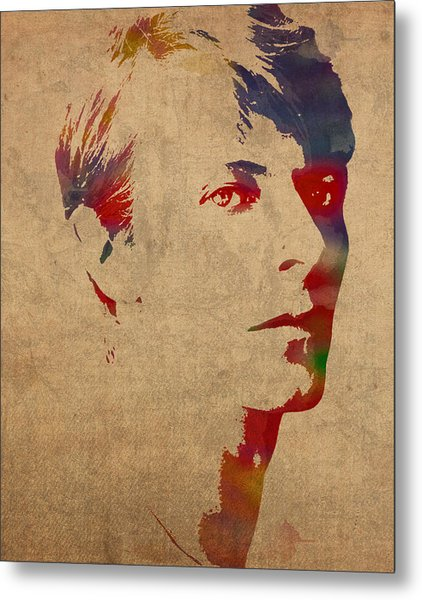 David Bowie Rock Star Musician Watercolor Portrait On Worn Distressed Canvas Metal Print