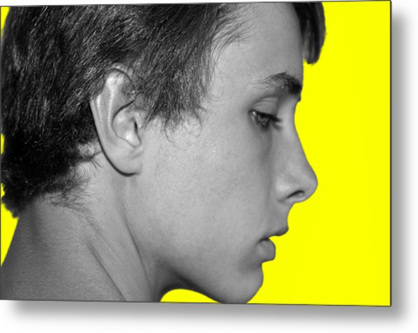 David R On Yellow Metal Print