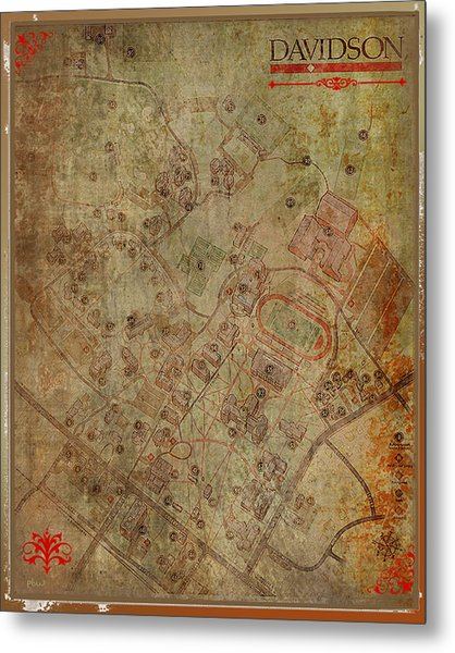 Davidson College Map Metal Print