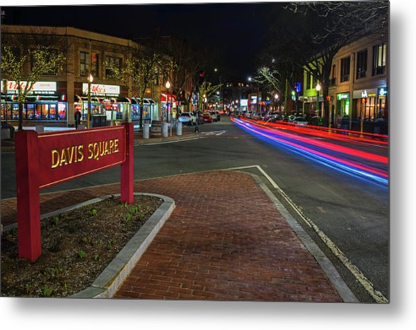 Davis Square Sign Somerville Ma Mikes Metal Print