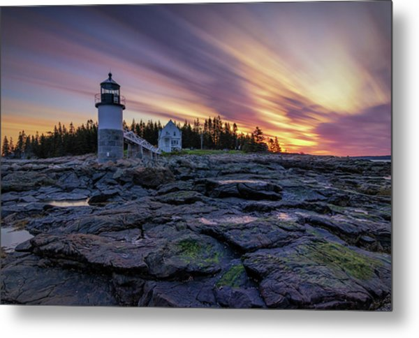 Dawn Breaking At Marshall Point Lighthouse Metal Print