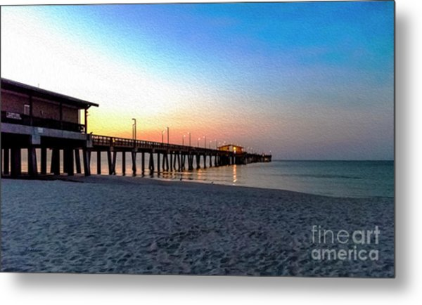 Dawn At Gulf Shores Pier Al Seascape 1283a Digital Painting Metal Print