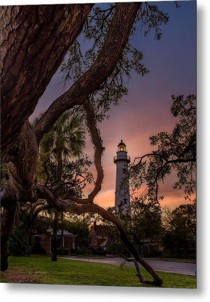 Dawn At Saint Simons Lighthouse Metal Print