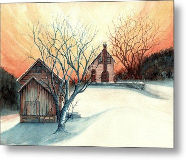 Dawn Has Spoken - Farmhouse Sunrise Metal Print