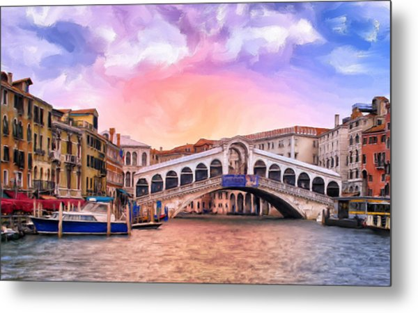 Dawn Light At Rialto Bridge Metal Print