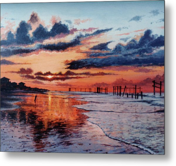 Dawn On Crystal Beach Metal Print