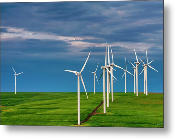 Dawn On The Windfarm Metal Print