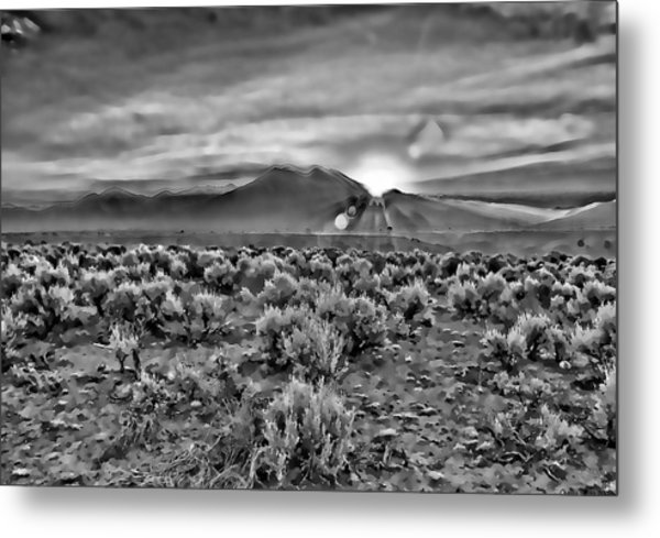 Dawn Over Magic Taos In B-w Metal Print