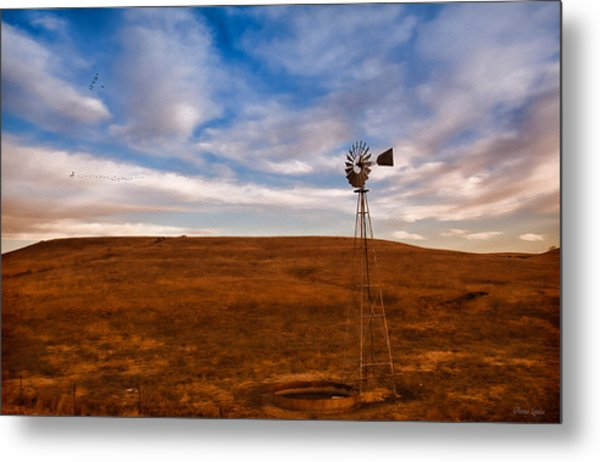 Dawn Prairie Windmill Metal Print