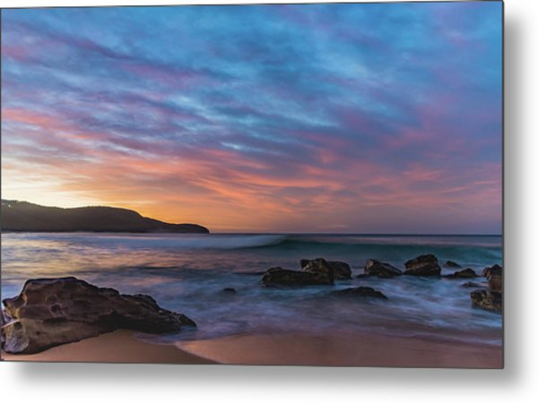 Dawn Seascape With Rocks And Clouds Metal Print