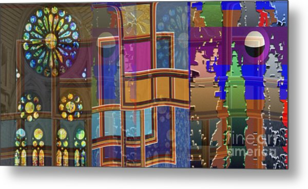 Day And Night Collage Photography Abstract Art From Church Walls Moon Hightide N Graphic Window View Metal Print