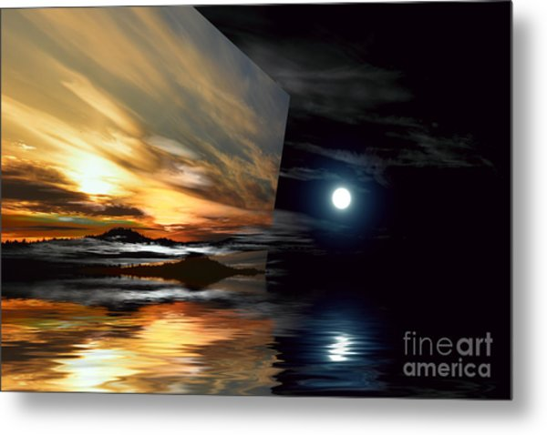 Day And Night Welcome Beach Metal Print